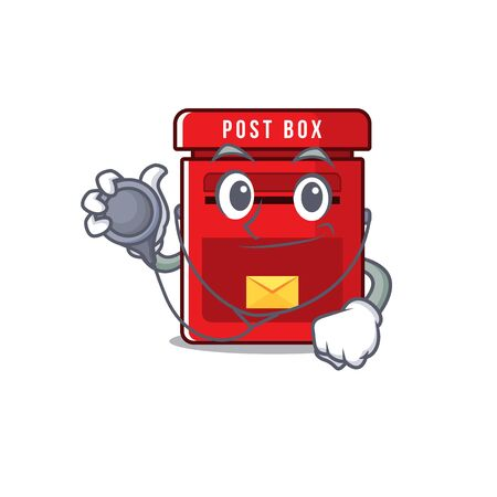 doctor happy mailbox in with cartoon cute vector illustration