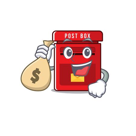 holding money bag happy mailbox in with cartoon cute vector illustration 일러스트