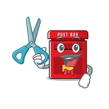 barber happy mailbox in with cartoon cute vector illustration
