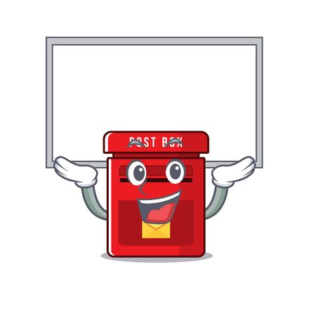 up board happy mailbox in with cartoon cute vector illustration Ilustrace