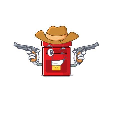 cowboy happy mailbox in with cartoon cute vector illustration