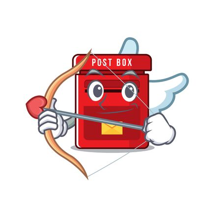 cupid happy mailbox in with cartoon cute vector illustration