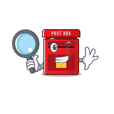 mailbox clings detective to cute cartoon wall vector illustration