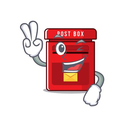 mailbox clings two finger to cute cartoon wall vector illustration
