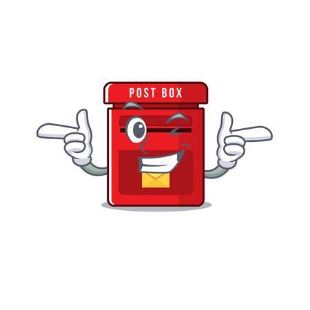 mailbox clings wink to cute cartoon wall vector illustration
