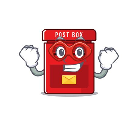 mailbox clings super hero to cute cartoon wall vector illustration