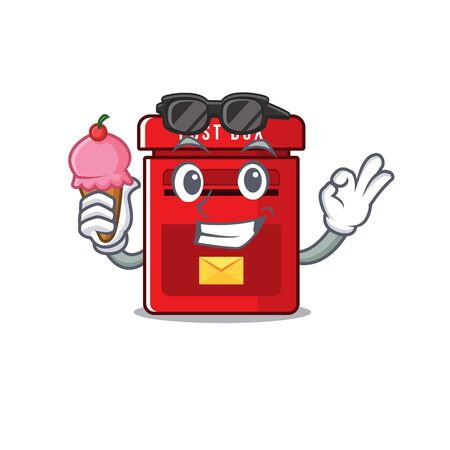 mailbox clings with ice cream to cute cartoon wall vector illustration