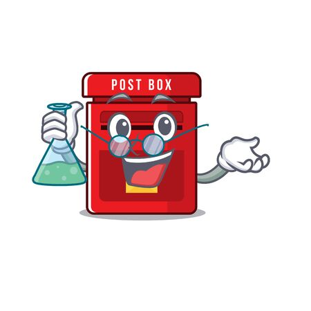 mailbox clings professor to cute cartoon wall vector illustration