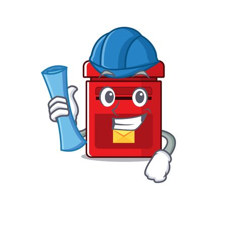 mailbox clings architect to cute cartoon wall vector illustration