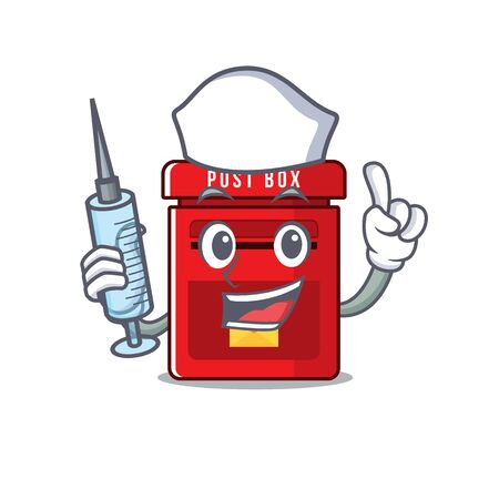 mailbox clings nurse to cute cartoon wall vector illustration