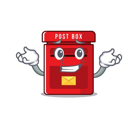 mailbox clings grinning to cute cartoon wall vector illustration