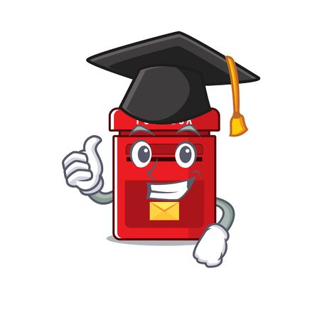mailbox clings graduation hat to cute cartoon wall vector illustration