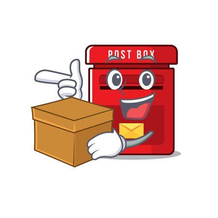 mailbox clings with bring box to cute cartoon wall vector illustration