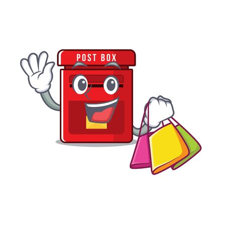 mailbox clings shopping to cute cartoon wall vector illustration Illusztráció