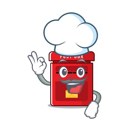 mailbox clings chef to cute cartoon wall vector illustration