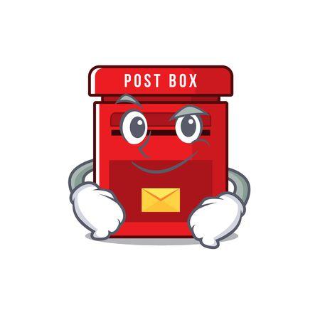 mailbox clings smirking to cute cartoon wall vector illustration