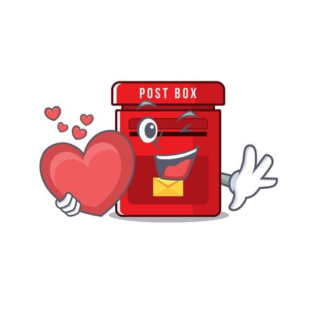 vector mailbox with a the holding heart mascot.illustration vector