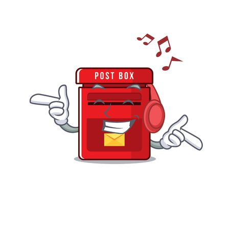 vector mailbox with a the listening music mascot.illustration vector