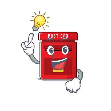 mailbox with a the mascot cartoon have an idea vector illustration Illusztráció