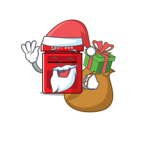 mailbox with a the mascot cartoon santa bring gift vector illustration