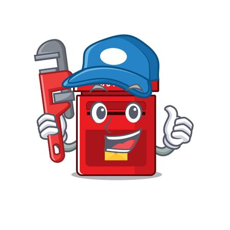 mailbox with a the mascot cartoon plumber vector illustration