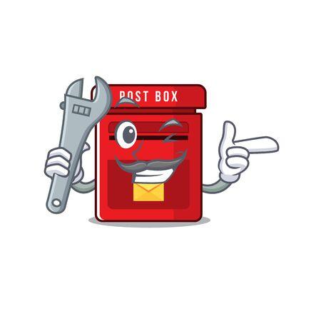 mailbox with a the mascot cartoon mechanic vector illustration Illusztráció