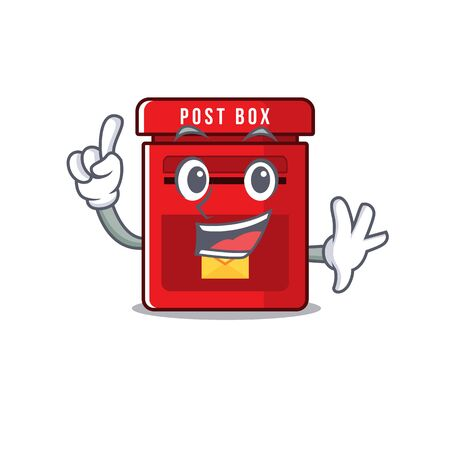 mailbox with a the mascot cartoon finger vector illustration Ilustrace