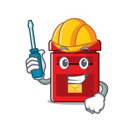 mailbox with a the mascot cartoon automotive vector illustration Illusztráció