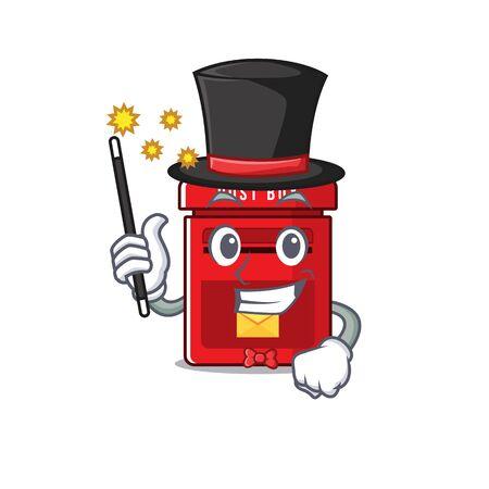 mailbox with a the mascot cartoon magician vector illustration Ilustracja