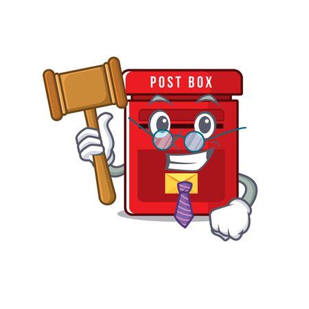 mailbox with a the mascot cartoon judge vector illustration Illusztráció