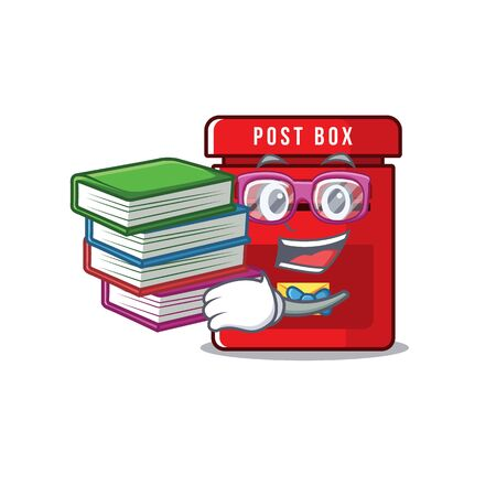 mailbox with a the mascot cartoon student bring book vector illustration