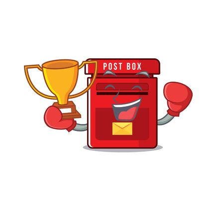 mailbox with a the mascot cartoon boxing winner vector illustration