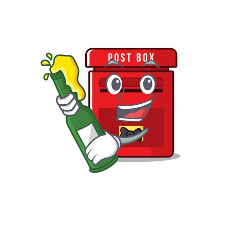 mailbox with a the mascot cartoon bring beer vector illustration