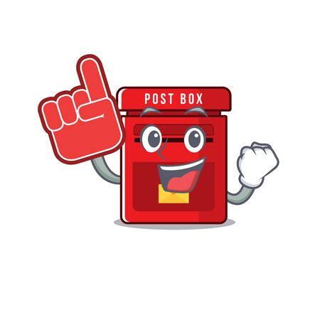 mailbox with a the mascot cartoon foam finger vector illustration