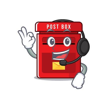mailbox with a the mascot cartoon with headphone vector illustration
