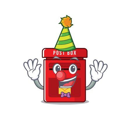 mailbox with a the mascot cartoon clown vector illustration