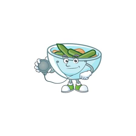Green beans casserole in bowl doctor mascot. Vector illustration