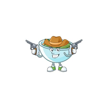 Green beans casserole in bowl cowboy mascot. Vector illustration