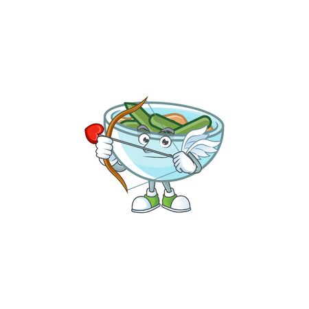 Green beans casserole in bowl cupid mascot. Vector illustration