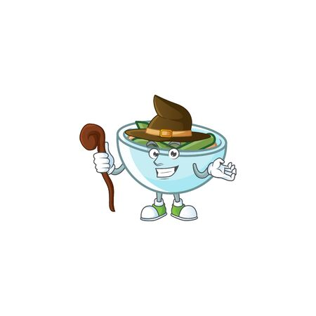 Green beans casserole on white background with witch mascot vector illustration
