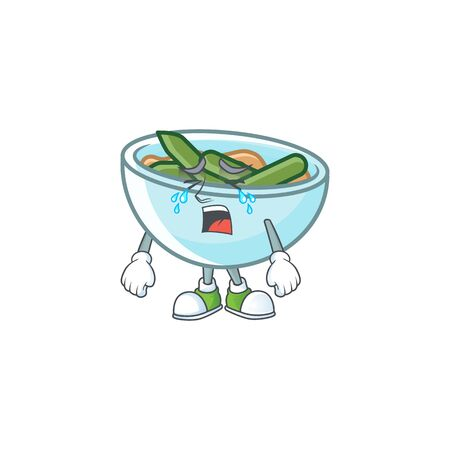 Green beans casserole on white background with crying mascot vector illustration