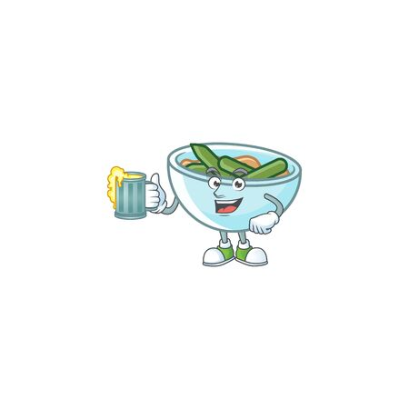 Green beans casserole on white background with holding juice mascot