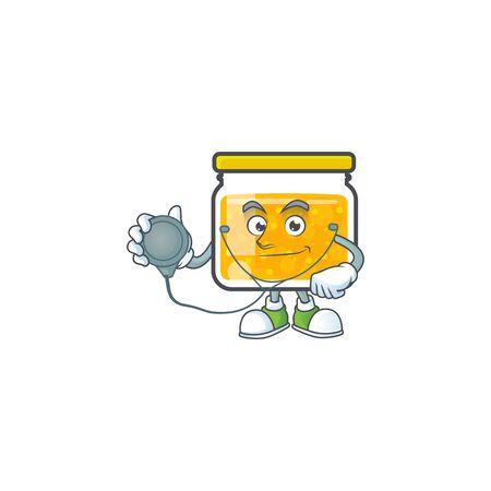 Sweet jam cartoon character with mascot doctor