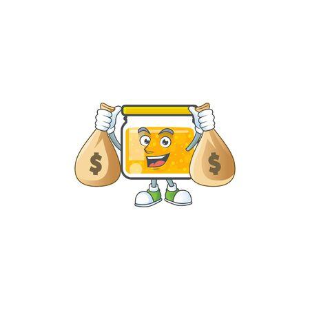 Sweet jam cartoon character with mascot holding money bag