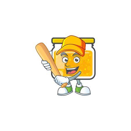 Sweet jam cartoon character with mascot playing baseball