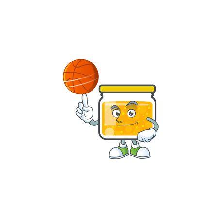 Sweet jam cartoon character with mascot holding basketball Ilustrace