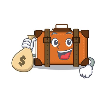 holding money bag cute suitcase with the cartoon shape vector illustration
