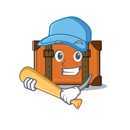playing baseball cute suitcase with the cartoon shape vector illustration