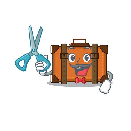 barber cute suitcase with the cartoon shape vector illustration Ilustrace