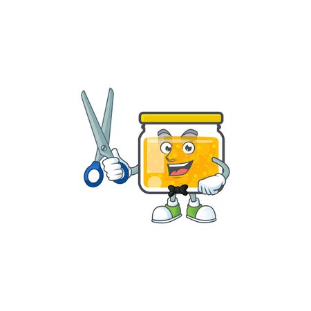 Sweet jam cartoon character with mascot barber
